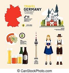 Travel Concept Germany Landmark Flat Icons Design .Vector Illustration