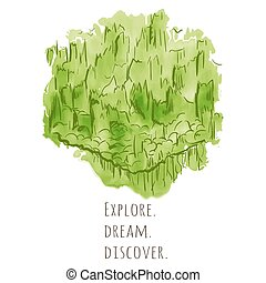 Travel concept hand drawn over green watercolor texture