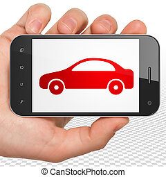 Travel concept: Hand Holding Smartphone with Car on display