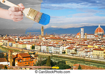 paintbrush paints blue sky over Florence city
