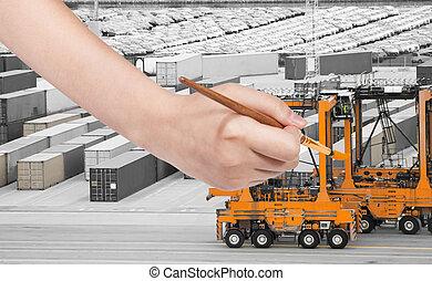 paintbrush paints orange crane in cargo port
