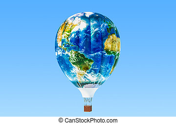 Travel concept. Hot air balloon with texture of Earth map, 3D rendering