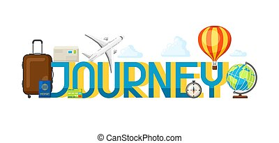 Travel concept illustration with tourist items and word