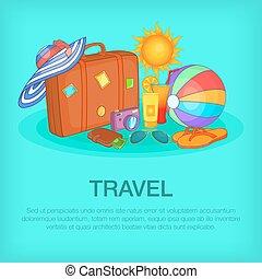 Travel concept kit, cartoon style