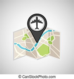 travel concept location map airport pin design graphic