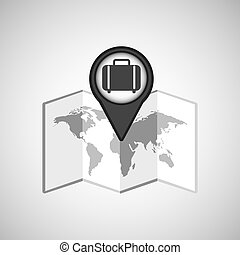 travel concept location map luggage design graphic