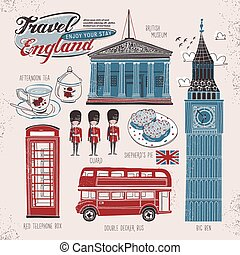 travel concept of England in lovely flat style