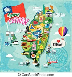 travel concept of Taiwan in colorful hand drawn style (every chinese term has their correspond english name under it.)