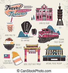 travel concept of Taiwan in lovely flat style ( the chinese ...