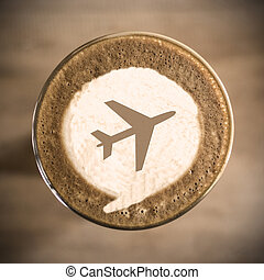 Travel concept on Coffee latte art morning everyday