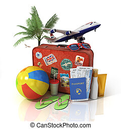 Travel concept. Plane, suitcase, passport, tickets and beach...