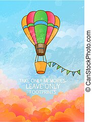 Travel Concept. Poster or Greeting Card Template. Balloon Flying Above Clouds