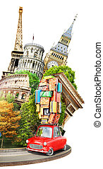 Travel concept. Red vintage car full of suitcases on the roof with travel attractions. 3d illustration