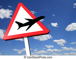 Travel concept road sign with blue sky on the background