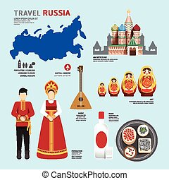 Travel Concept Russia Landmark Flat Icons Design .Vector...