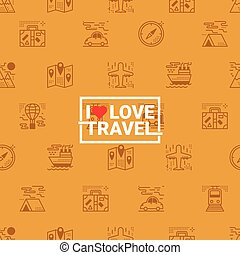 Travel concept seamless orange background