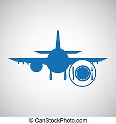 travel concept. service resturant hotel. silhouette blue plane.