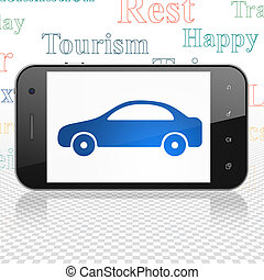 Travel concept: Smartphone with Car on display