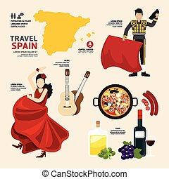 Travel Concept Spain Landmark Flat Icons Design .Vector Illustration