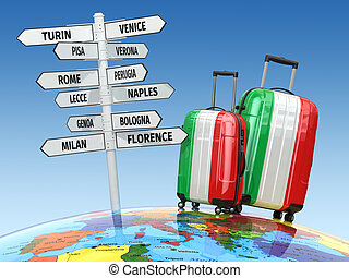 Travel concept. Suitcases and signpost what to visit in Italy