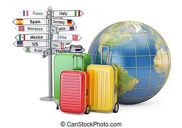 Travel concept. Suitcases, signpost and Earth globe, 3D rendering