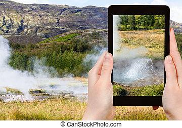 tourist photographs Haukadalur geyser valley - travel...