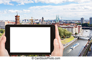 tourist photographs Spree River with Rathausbrucke - travel...
