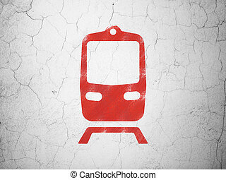 Travel concept: Train on wall background