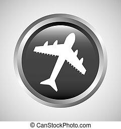 travel concept transport airport plane button design graphic