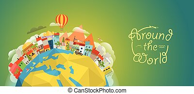 Travel concept vector illustration. Around the world...