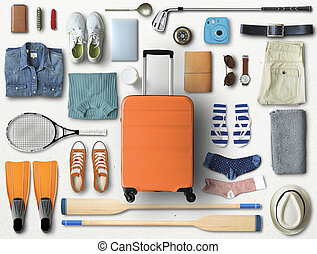 Travel concept with a large suitcase
