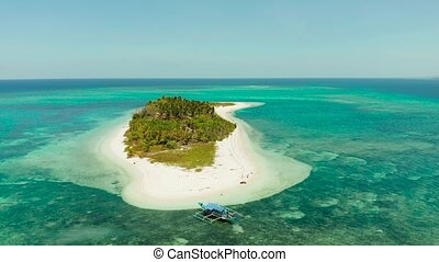 Travel concept: tropical island on an atoll with beautiful sandy beach by coral reef from above. Canimeran Island and coral reef. Summer and travel vacation concept.