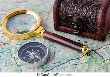 Travel concept with compass and map
