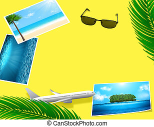 Travel concept with lying photos and decorations.