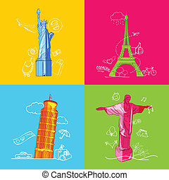 Travel concept with Monument - illustration of travel...