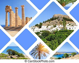 Travel concept with photos collage island Rhodos