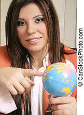 Travel consultant discussing travel options