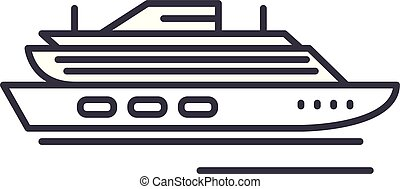 Travel cruise ship line icon concept. Travel cruise ship vector linear illustration, symbol, sign