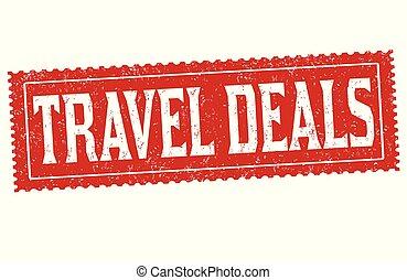 Travel deals grunge rubber stamp