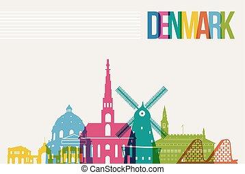 Travel Denmark destination landmarks skyline background - ...