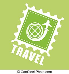 Travel design - travel in an airplane digital design, vector...