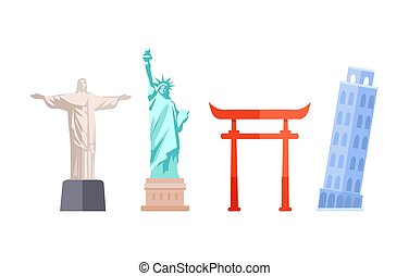 Travel Destination Collection Vector Illustration - Travel...