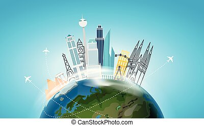 Travel destination concept. Vector illustration