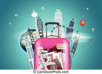 Travel destination concept. Vector illustration with the bag
