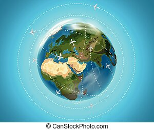 Travel destination concept with aircrafts. Vector...