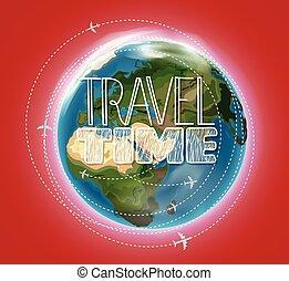 Travel destination concept with logo. Go travel