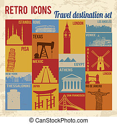 Travel destination icons set. Retro signs with grunge...