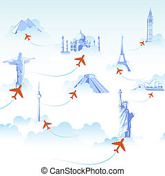 Travel Destination - illustration of different monuments on...