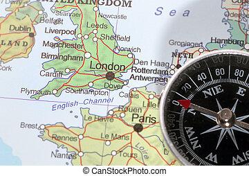 Travel destination London United Kingdom, map with compass