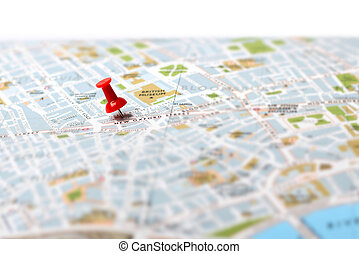 Travel destination map push pin - Red push pin pointing...